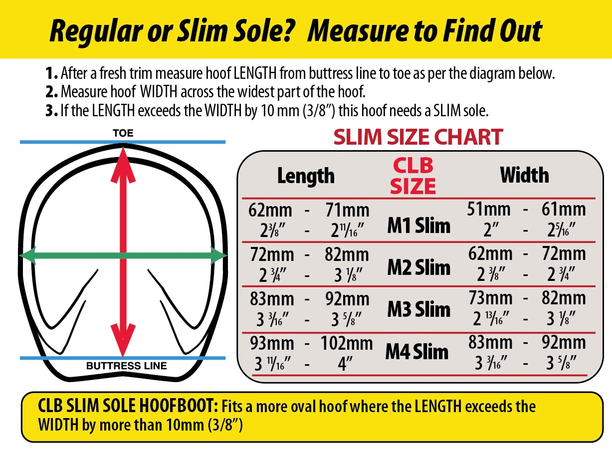 Cavallo CLB mini horse hoof boot Slim sole measuring chart
